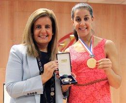 """Foto: Carolina Marín: """"Esta medalla no es mía, es de todos"""" (EUROPA PRESS/PP-A)"""