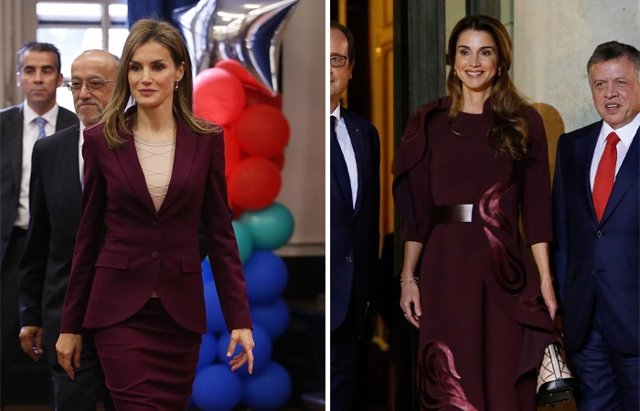 Foto: Letizia y Rania, reinando en 'Burdeos' el color de temporada (GETTY- REUTERS)