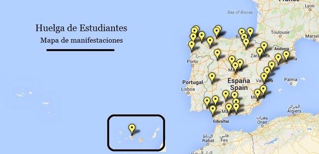 Mapa manifestaciones durante la Huelga de Estudiantes
