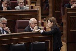 Foto: Santamaría y Duran vuelven a hablar, aunque aseguran que solo del Madrid-Barça (EUROPA PRESS)