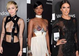 Rihanna y Miley Cyrus, sus escotes eclipsan las transparencias de Alessandra Amb