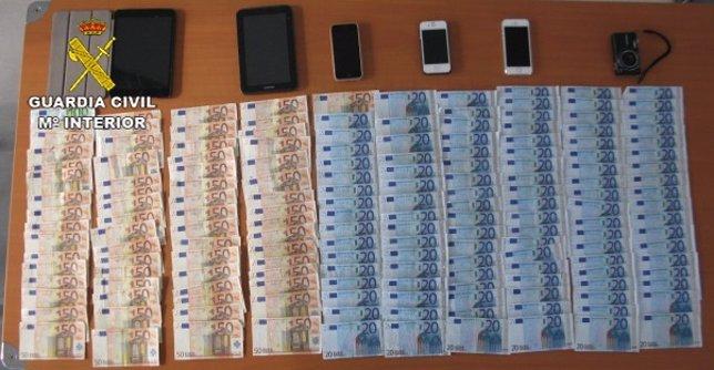 Dinero incautado en operación contra dorga en Magaluf