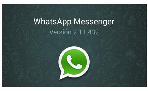 Versión 2.11.432 de WhatsApp