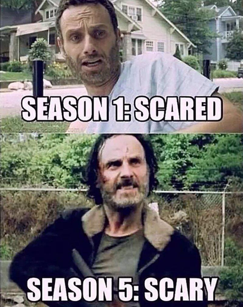 No hay mejor forma de representar la transformación que ha sufrido Rick desde la primera temporada a la actual. De alguien asustado a un líder capaz de