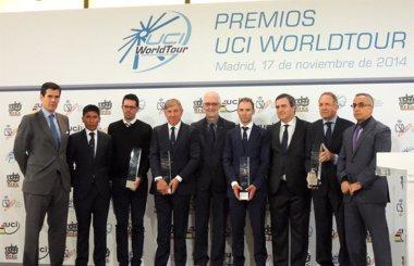 Foto: Valverde, el Movistar y España reciben los premios UCI World Tour 2014 (MOVISTAR TEAM)