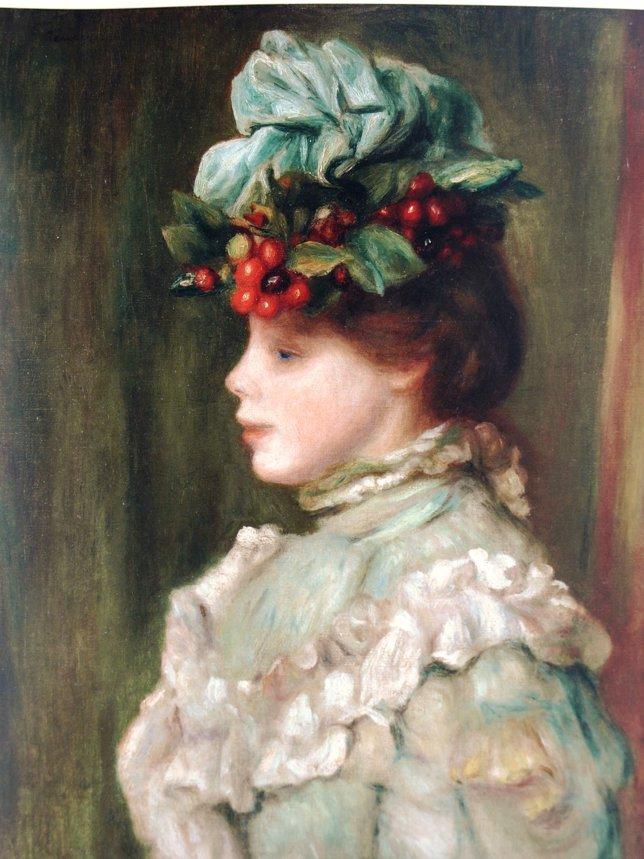 Renoir Mujer con sombrero de cerezas