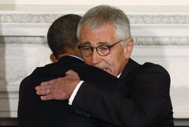Foto: Hagel dice adiós al Pentágono con un mensaje de unidad con Obama