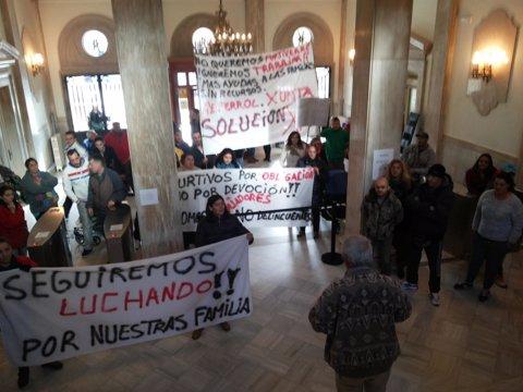 Protesta de mariscadores furtivos en Ferrol.