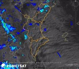 Foto: Vilafranca acumula en 24 horas 69,3 l por m2 de lluvia con granizo (TWITTER AEMET)