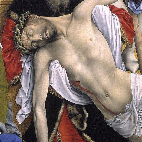 Detalle de El descendimiento de Van Der Weyden en el Museo del Prado