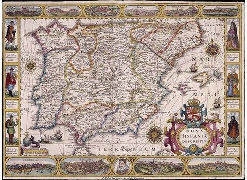 Mapa antiguo de España en la BNE