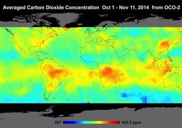 Foto: Altas concentraciones de CO2 sobre el hemisferio sur visibles desde el espacio (NASA/JPL)
