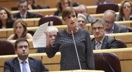 """Foto: María Chivite: """"Si no hay mayorías claras en Navarra, estamos dispuestos a ir a una segunda vuelta electoral"""" (EUROPA PRESS)"""