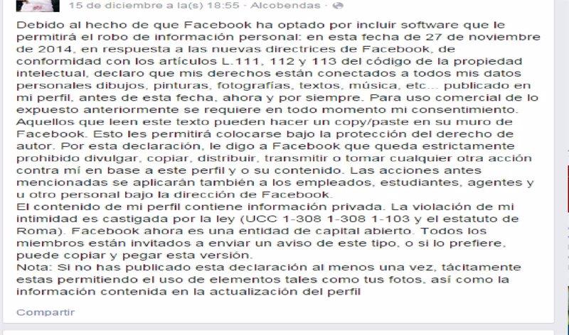 Mensaje de usuario a Facebook