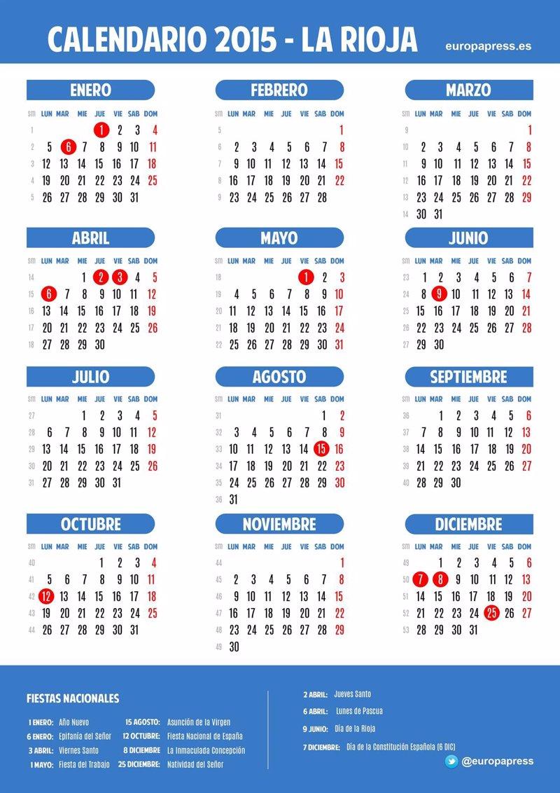 Calendario laboral para 2015 de La Rioja
