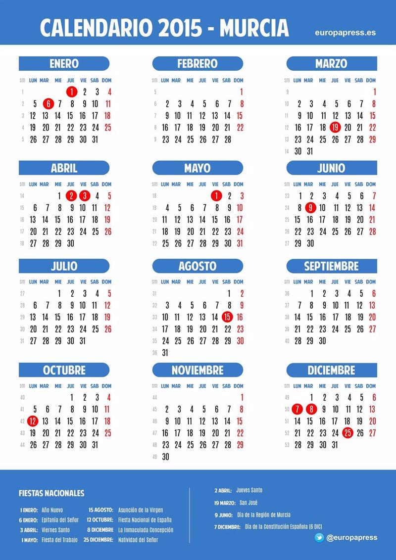 Calendario laboral para 2015 de Murcia