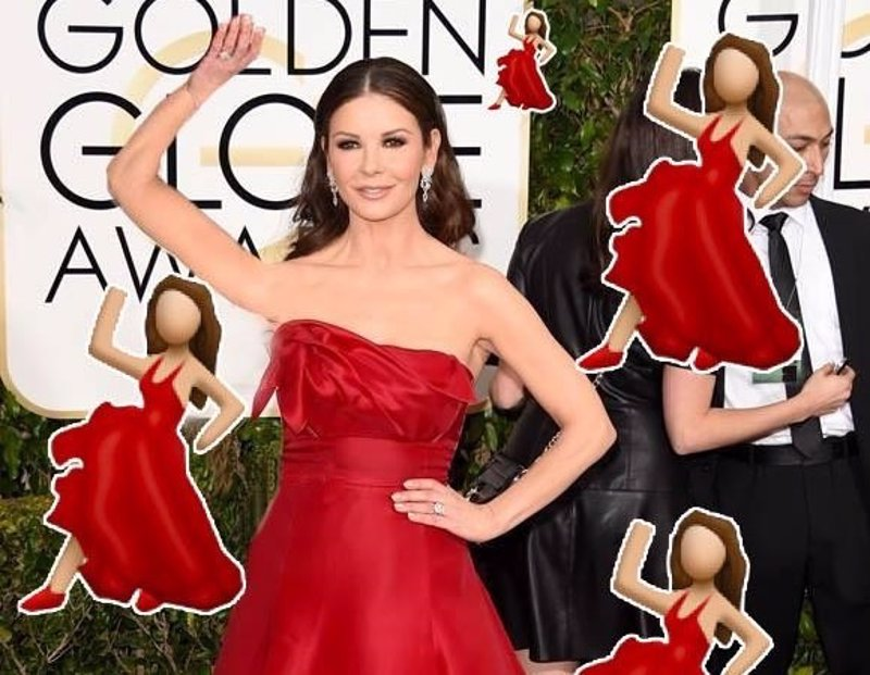 Red dress dancing emoji zone