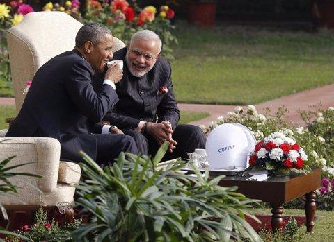 Obama con el primer ministro de India  Narendra Modi