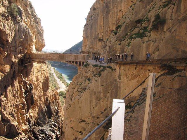 Caminito del Rey, pasarela, puente, desfiladero, turismo, Málaga