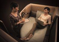 Pasajera en una cabina 'premium' de Singapore Air