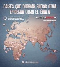 Mapa de países con riesgo de sufrir una epidemia