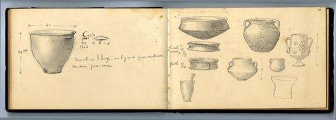 Cuaderno de dibujos y anotaciones del arqueólogo Louis Siret