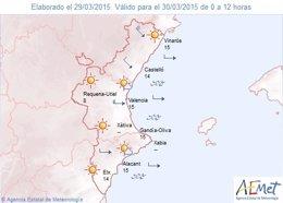 Foto: Temperaturas de hasta 30º y en Castellón fuertes vientos (AEMET)