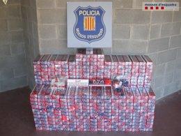 Foto: Tres detenidos en Sort por contrabando de tabaco andorrano (MOSSOS D'ESQUADRA)