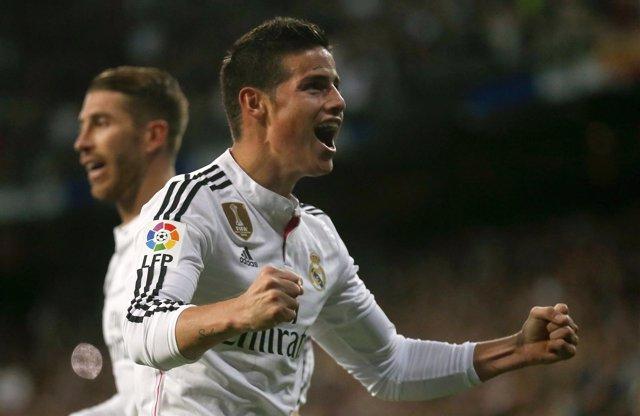 Foto: James arregla un triunfo caro del Real Madrid ante el Málaga