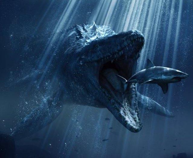 Foto: Jurassic World: Un tiburón es devorado por el mosasaurus