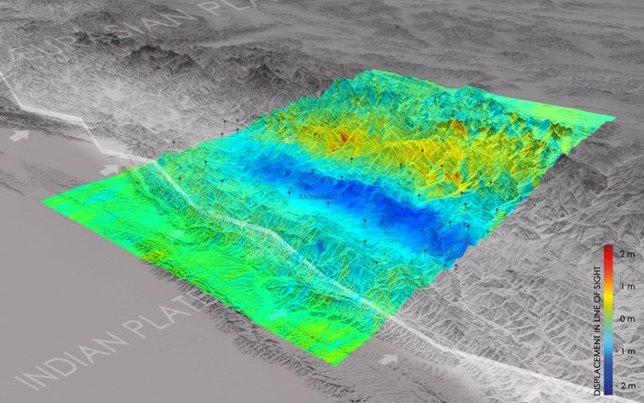 Movimiento de la superficie tras el terremoto de Nepal
