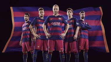 Foto: El FC Barcelona vestirá con rayas horizontales en la temporada 2015-16 (FCB)