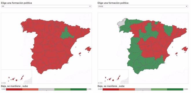 Foto: ¿Dónde han perdido o ganado los partidos en estas elecciones 2015? (EUROPA PRESS)
