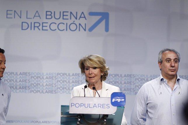 Esperanza Aguirre pide un pacto de PP, PSOE y Ciudadanos contra Carmena