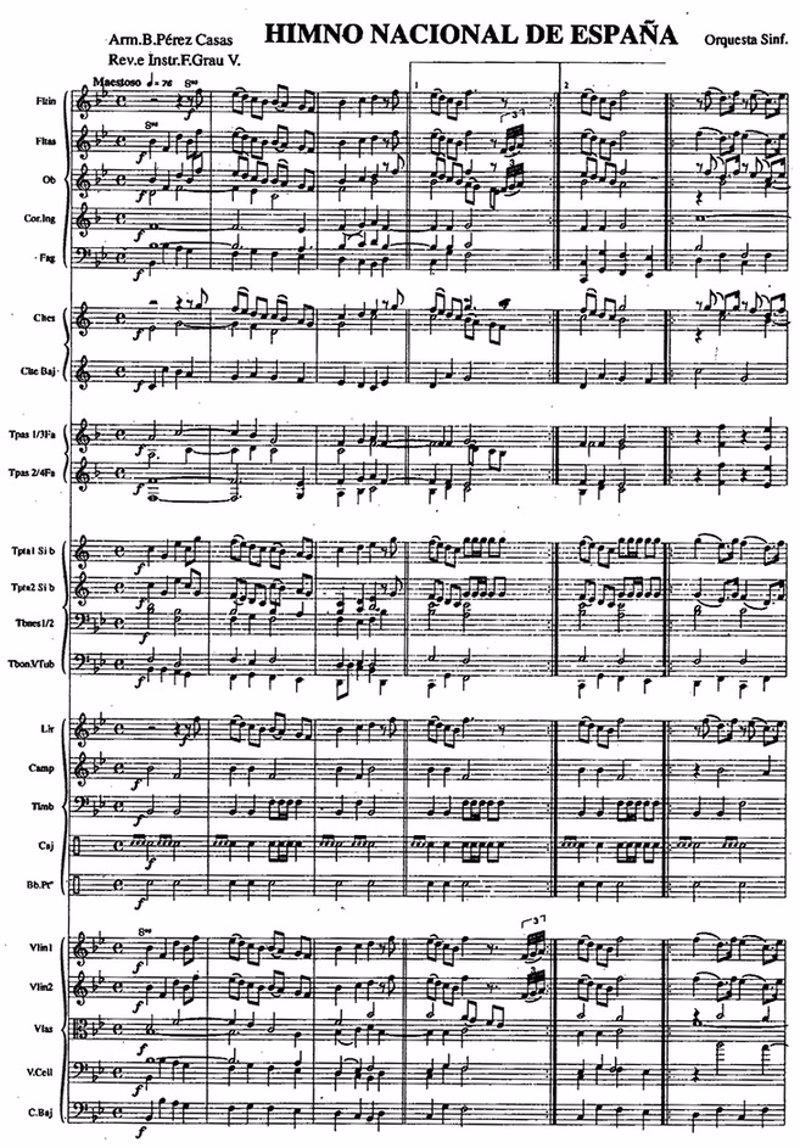 Himno Nacional Espana Himno de España Partitura