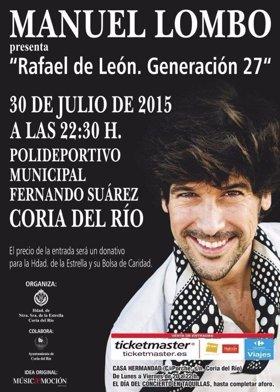 Concierto benéfico de Manuel Lombo en Coria con su 'Rafael de León. Generación 27'