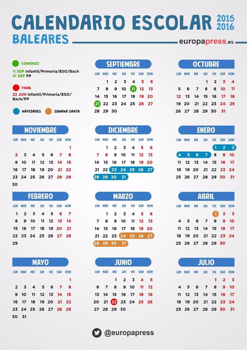 Calendario escolar 2015/2016 en Baleares: festivos, puentes y fiestas