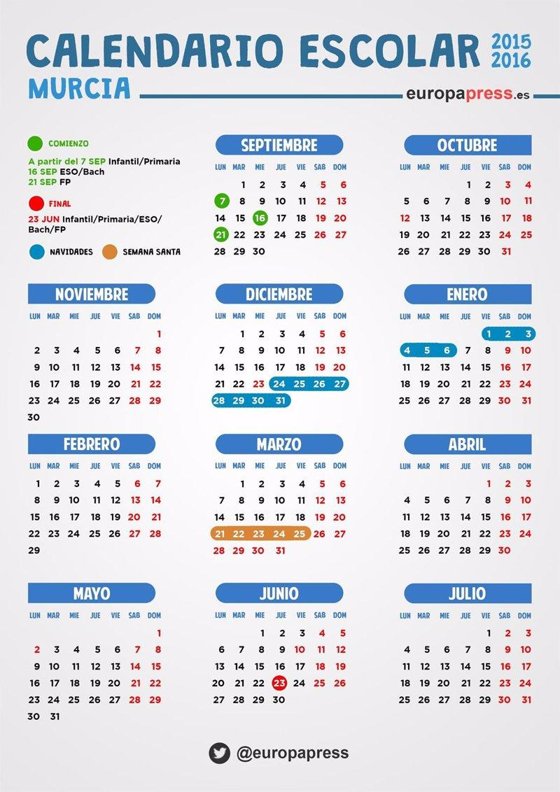 Calendario escolar 2015/2016 en Murcia: festivos, puentes y fiestas ...