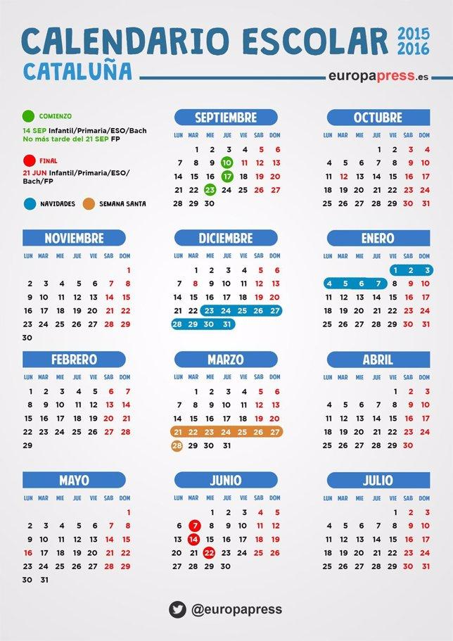 Calendario escolar 2015/2016 en Cataluña: festivos, puentes y fiestas ...