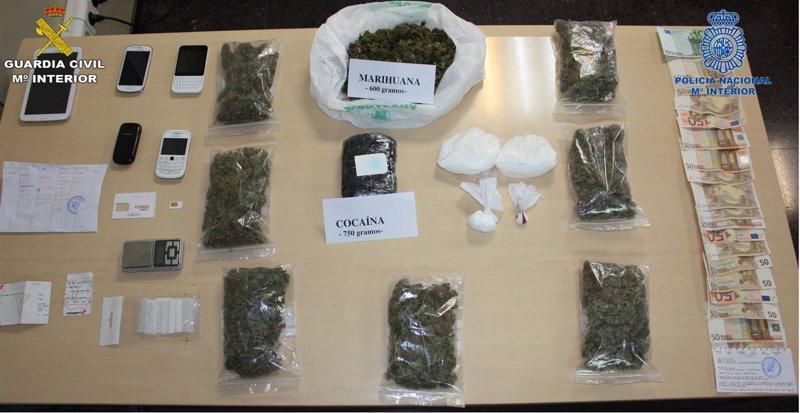 La Guardia Civil y Policía Nacional incautan un kilo de cocaína en Alcúdia