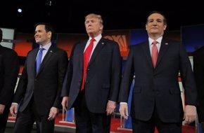 Foto: Trump y Rubio, blanco de las críticas de sus rivales en el octavo debate republicano (CHRIS KEANE / REUTERS)