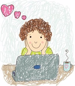 Niña, adolescente, redes sociales, ordenador, amor