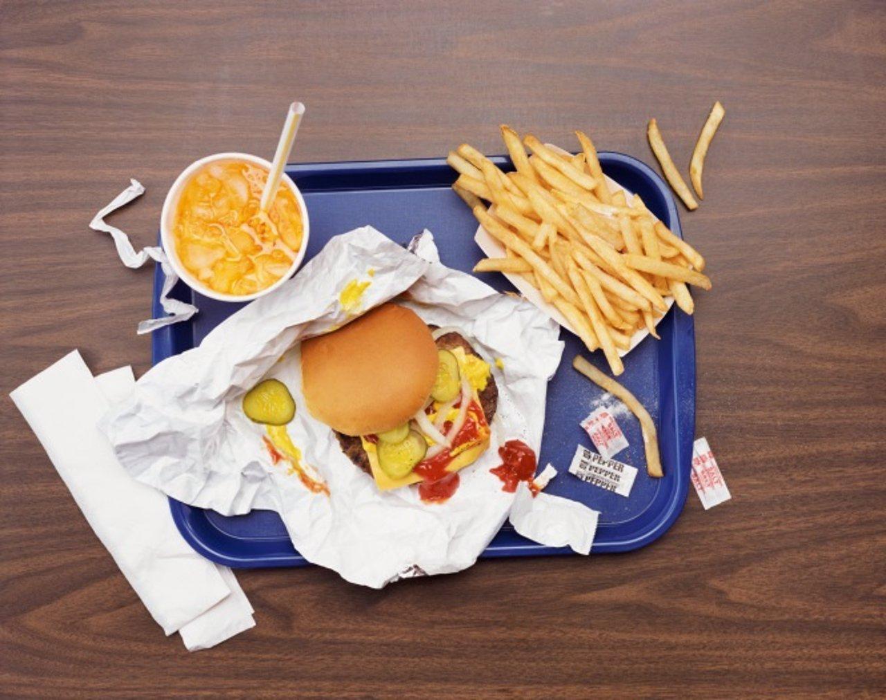 Hamburguesa, comida rápida, patatas fritas, refresco