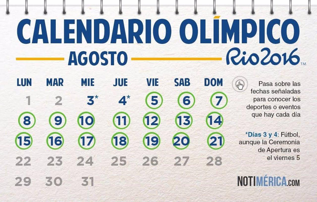 Calendario de los Juegos Olímpicos Río 2016