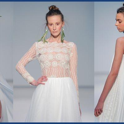 Foto: El eclecticismo de las novias de Pol Núñez combina sedas y organzas con encajes (COLECCIÓN POL NÚÑEZ/  PASARELA COSTURA ESPAÑA)