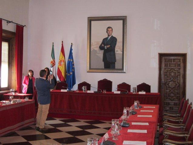 Foto: El nuevo cuadro del rey Felipe VI ya preside el salón de plenos de la Diputación de Cáceres (EUROPA PRESS)