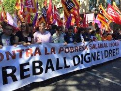 Arrenca la manifestació a Barcelona amb proclames per la recuperació de drets i salaris (EUROPA PRESS)