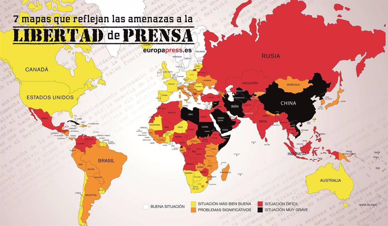 Día Mundial de la Libertad de Prensa: 7 mapas que reflejan sus amenazas