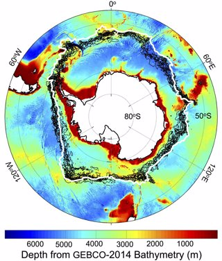Localización del frente circumpolar antártico
