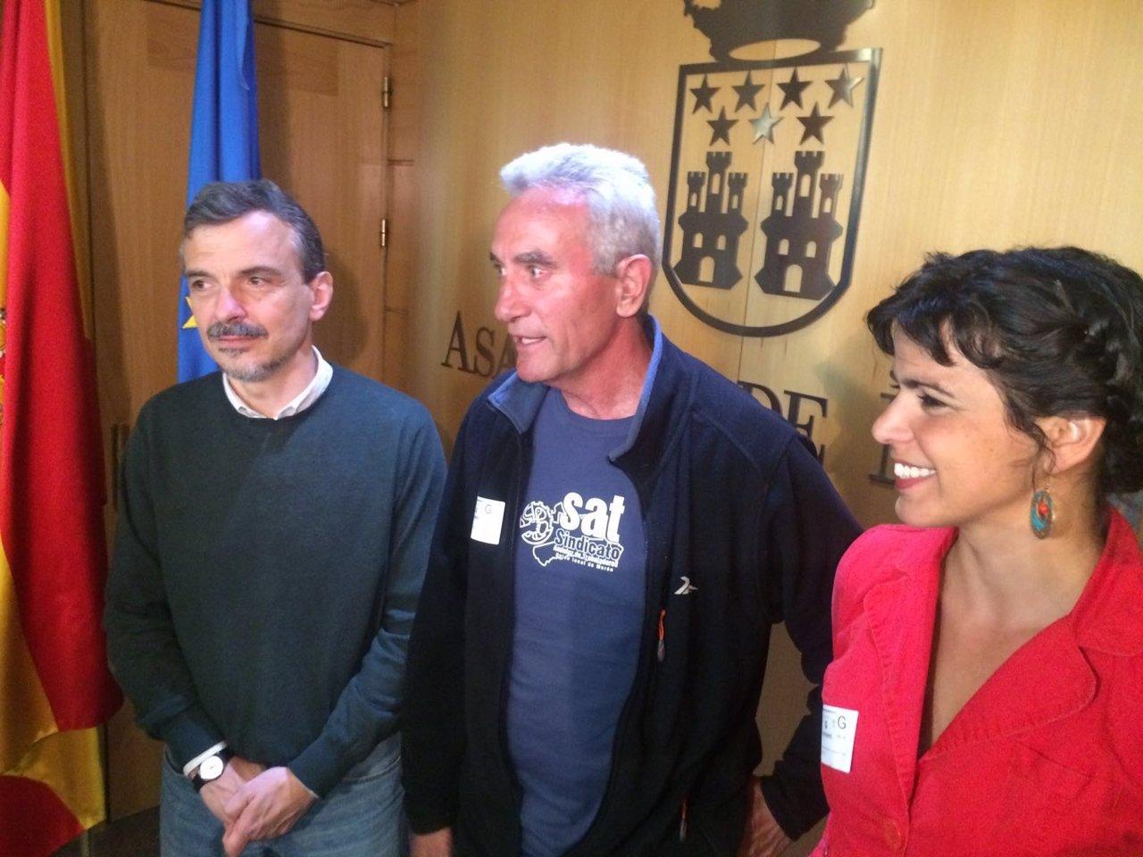 José Manuel López, Diego Cañamero y Teresa Rodríguez